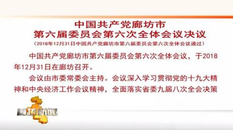 中国共产党廊坊市第六届委员会第六次全体会议决议