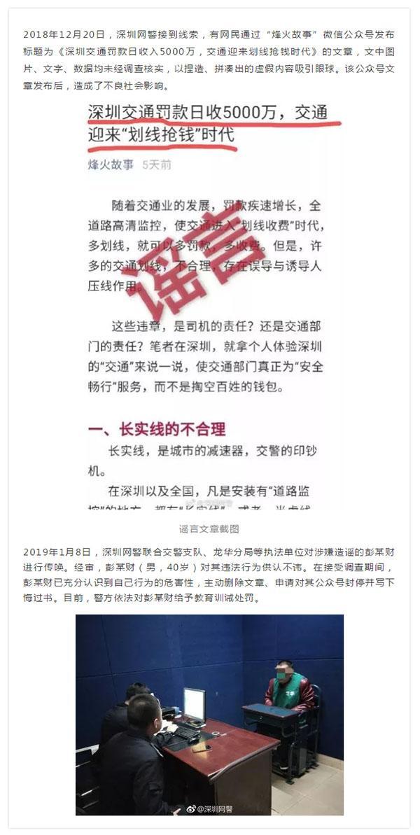 """【網絡謠言粉碎機】警示   捏造""""深圳交通罰款日收入5000萬""""的造謠者被傳喚 公號封停"""
