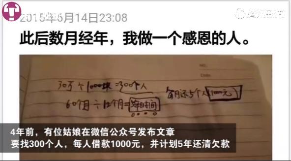 女孩朋友圈借錢:找300人各借千元,5年還清!3年后…...