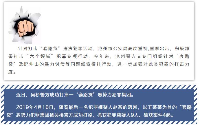 """借款4萬被""""套路"""" 損失10余萬 滄州警方打掉一""""套路貸""""惡勢力犯罪集團"""