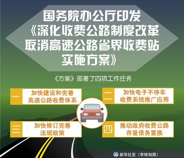 國務院辦公廳印發《深化收費公路制度改革取消高速公路省界收費站實施方案》