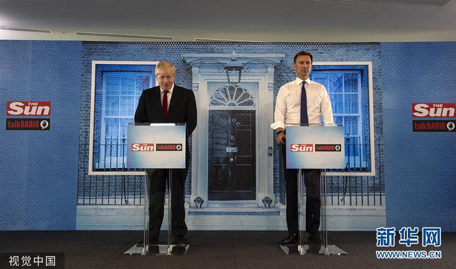英国保守党领袖候选人约翰逊和亨特出席竞选辩论