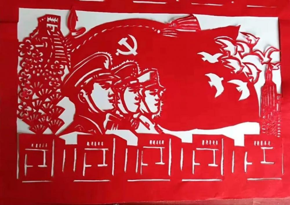 长城,天安门,建国七十年标志,牡丹花为元素的剪纸作品《壮丽70年》