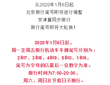 1月6日開始,廊坊限行將有變化