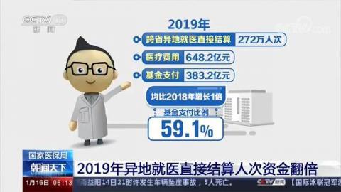 国家医保局:2019年异地就医直接结算人次资金翻倍