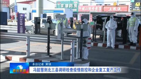 冯韶慧到北三县调研检查疫情防控和企业复工复产工作