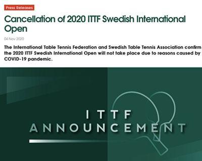 国际乒联取消2020瑞典国际公开赛